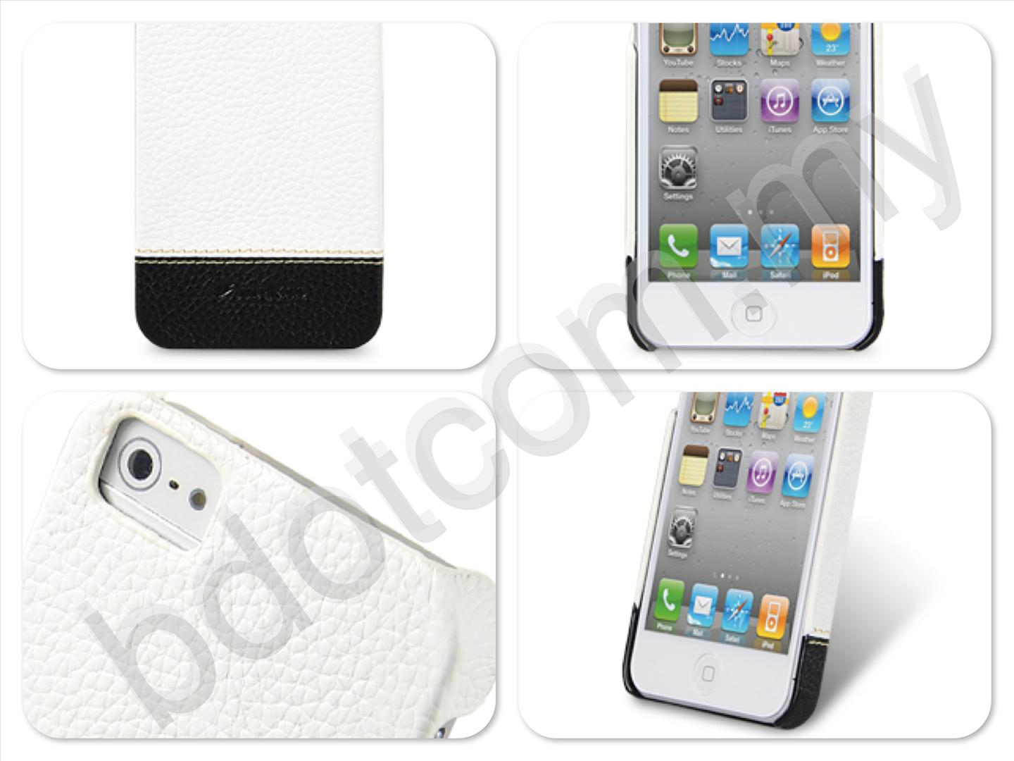 Bdotcom = Apple iPhone 5 Melkco Mix & Match Leather Snap Cover White Black