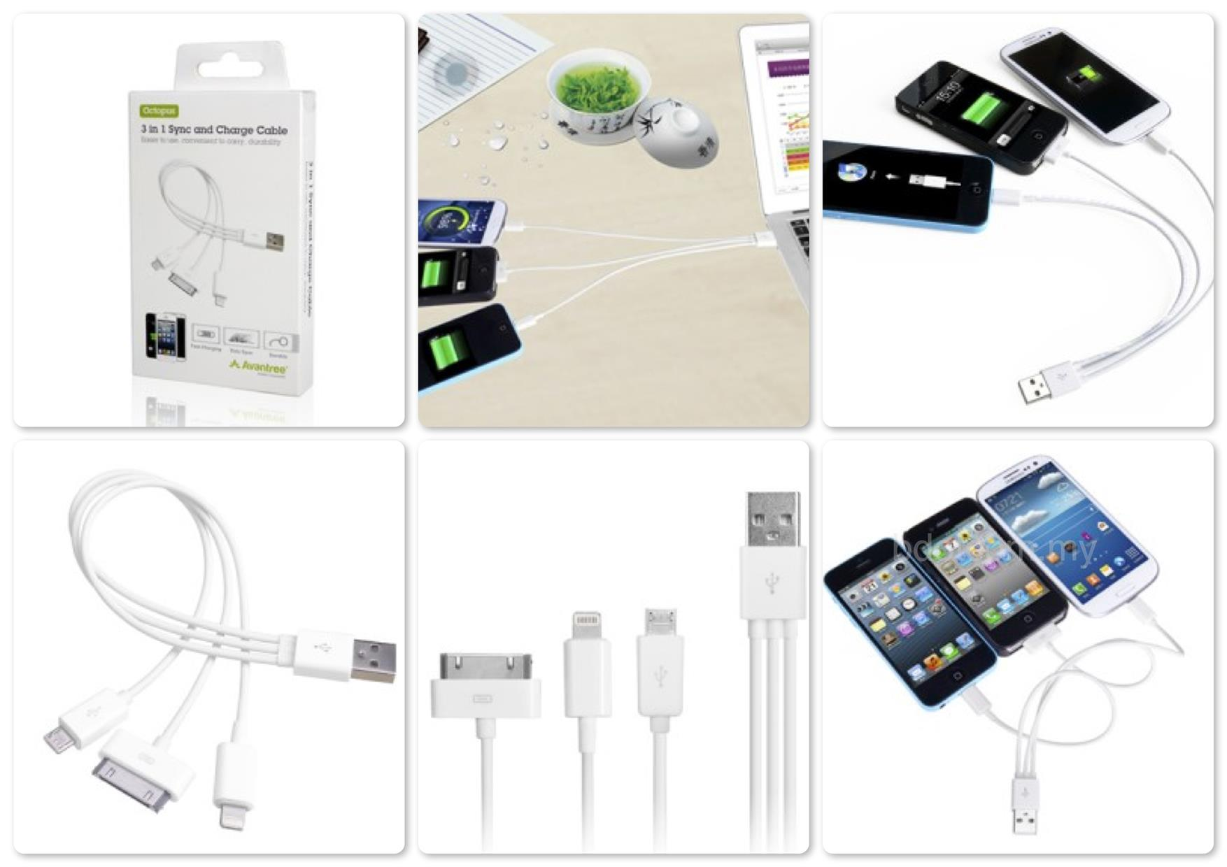 Bdotcom = Avantree 3 in 1 Sync and Charge Cable - Octopus