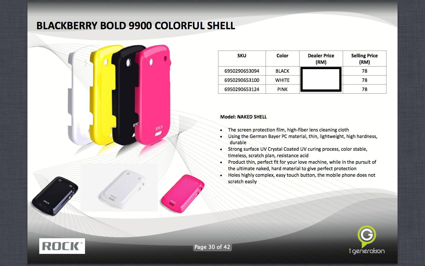 Bdotcom = Blackberry Bold Touch 9900 = ROCK Colorful Naked Shell