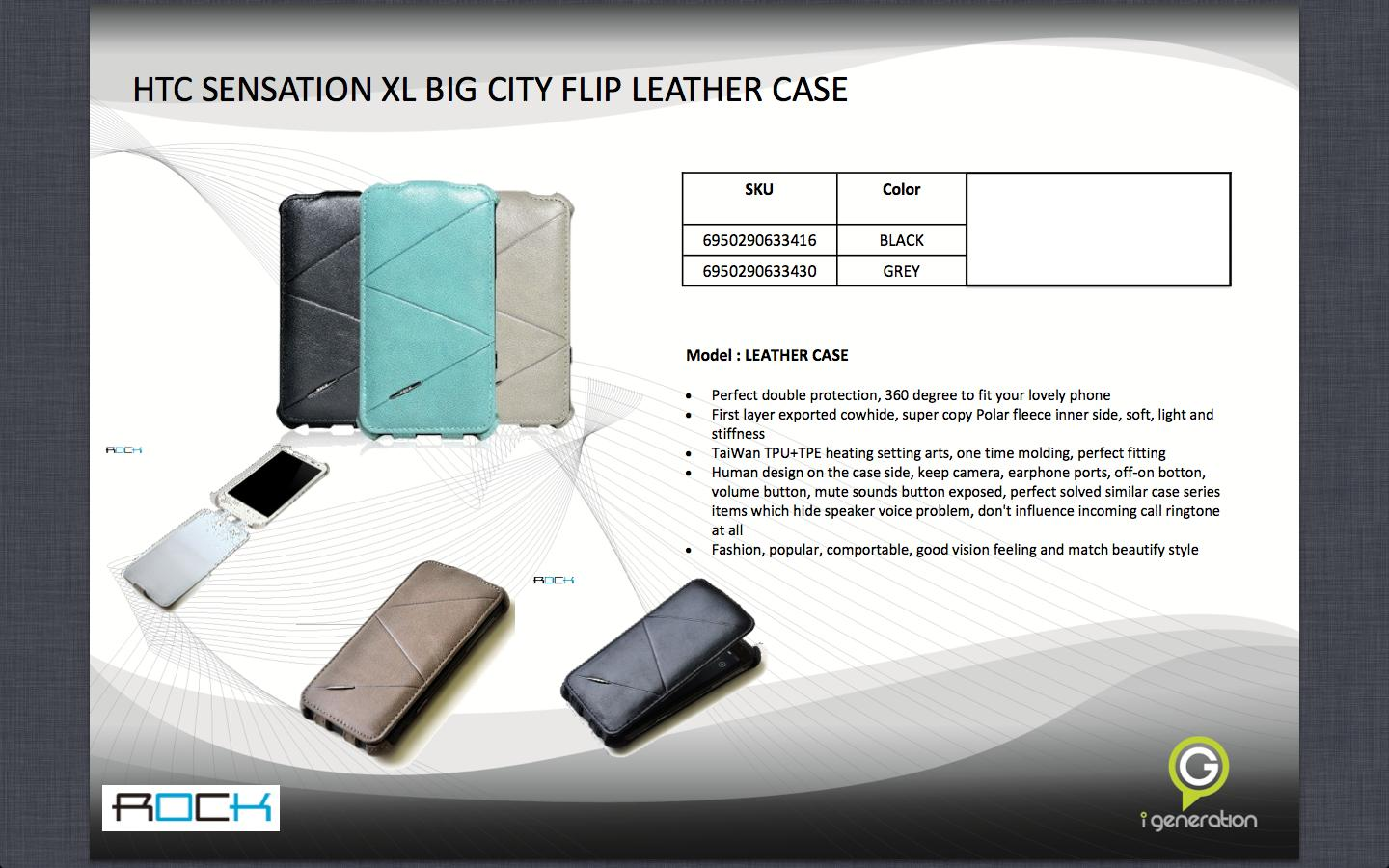 Bdotcom = HTC Sensation XL = ROCK Big City Flip Leather Case