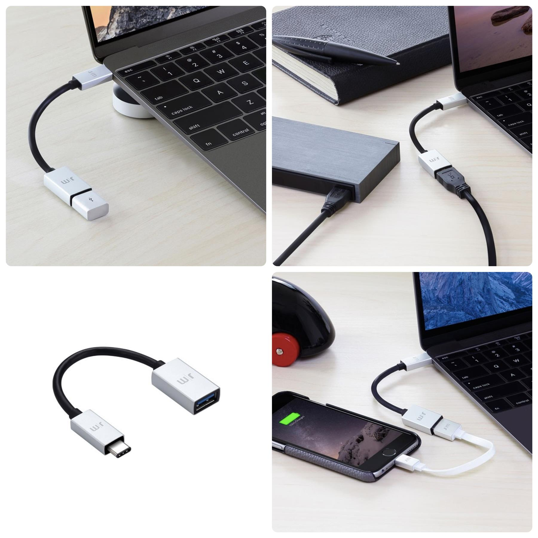 Bdotcom = Original Just Mobile AluCable USB Tyoe-C 3.1 to USB Adapter