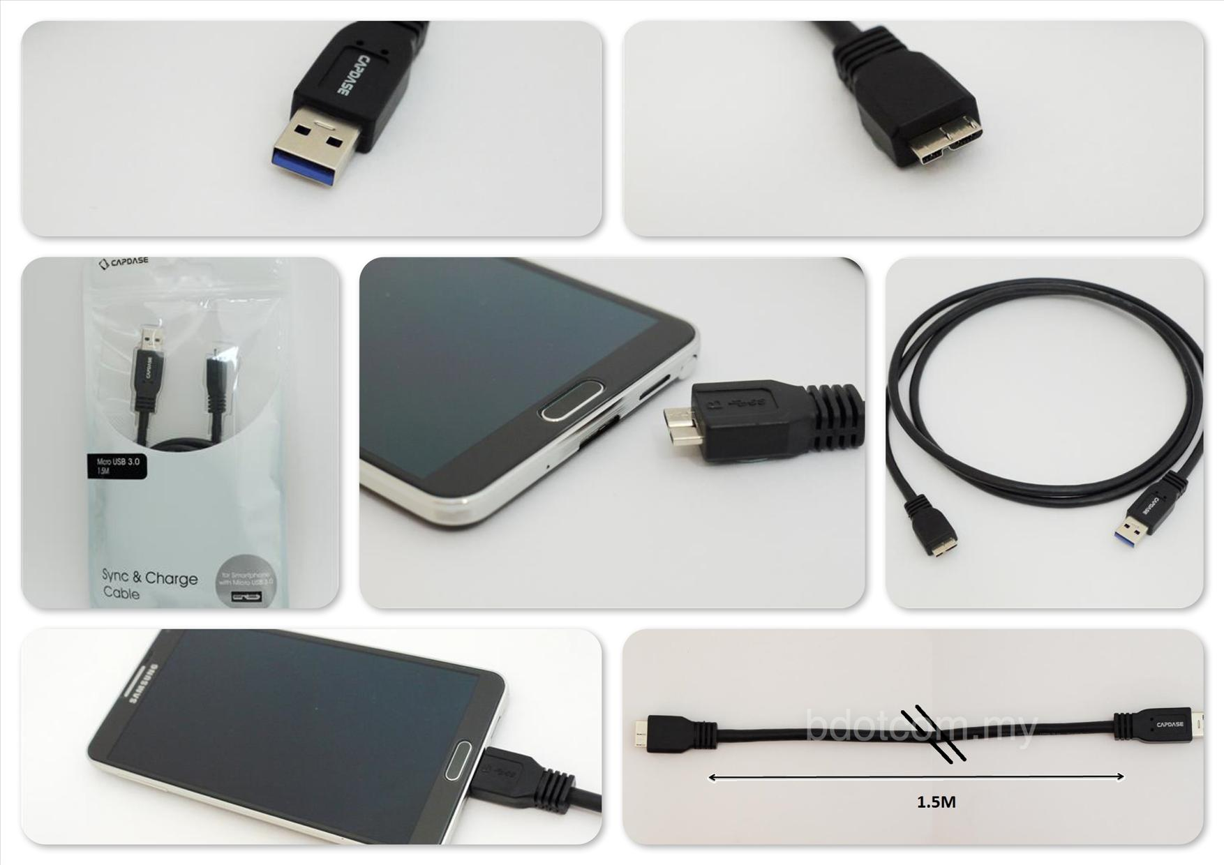 Bdotcom = Samsung Galaxy Note 3 Capdase Sync Charge Cable MicroUSB 3.0