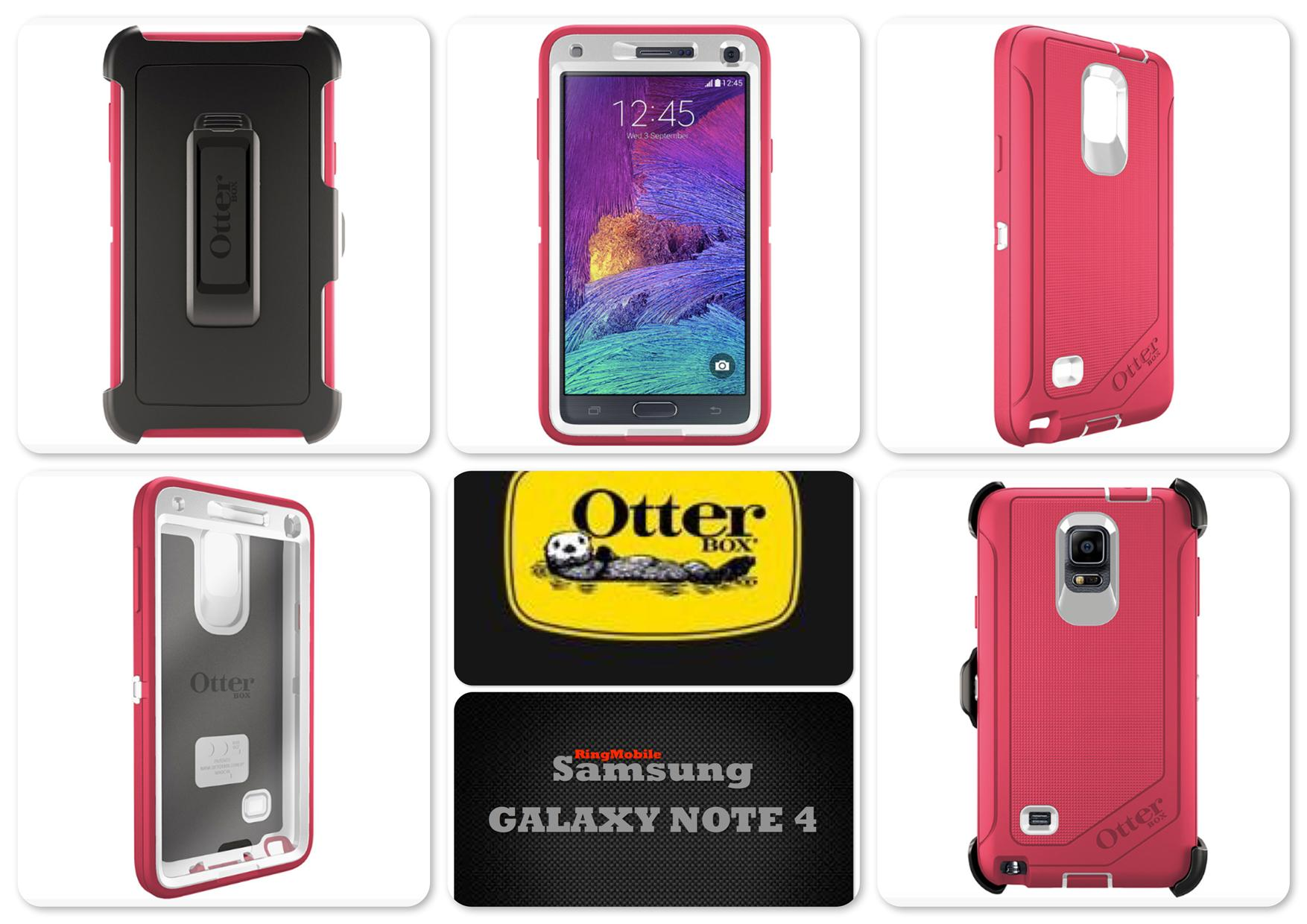 Bdotcom = Samsung Galaxy Note 4 Otterbox Defender Series = NEON ROSE