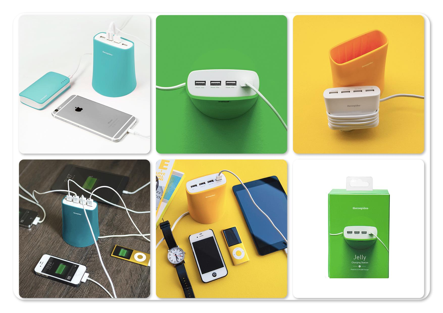 Bdotcom = TheCoopIdea Jelly 5.1A 4 Port USB Charging Station (Green)