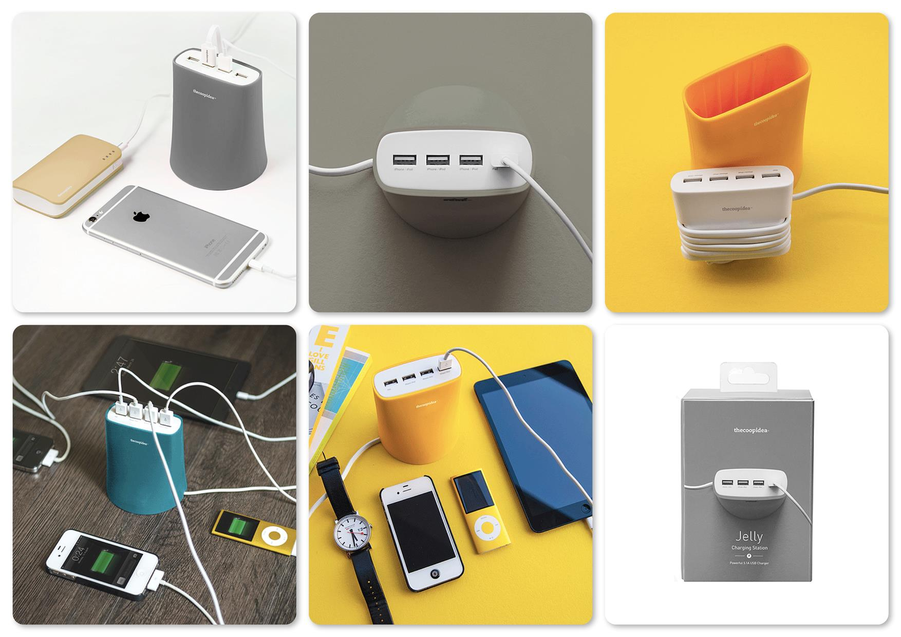 Bdotcom = TheCoopIdea Jelly 5.1A 4 Port USB Charging Station (Grey)
