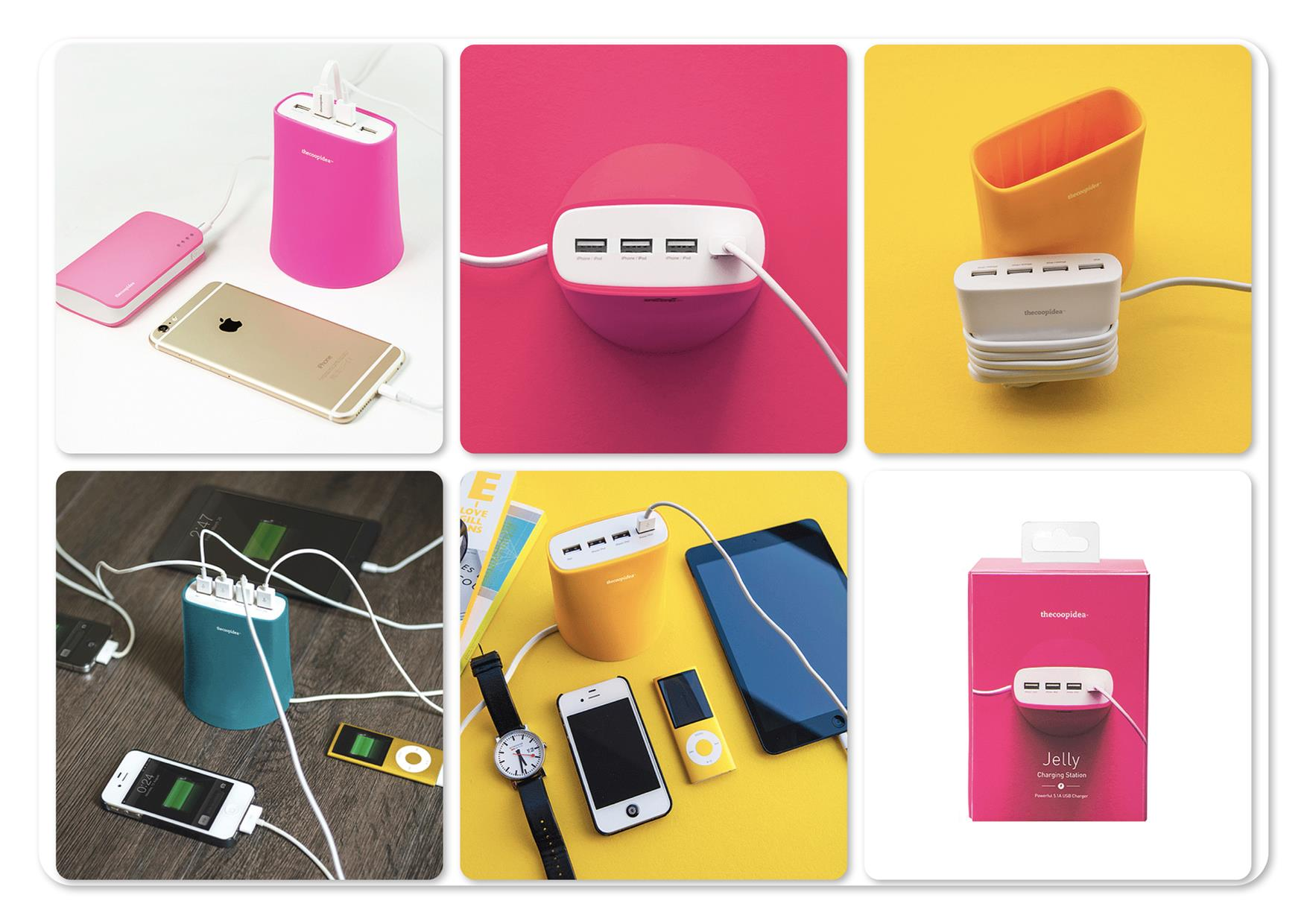 Bdotcom = TheCoopIdea Jelly 5.1A 4 Port USB Charging Station (Pink)