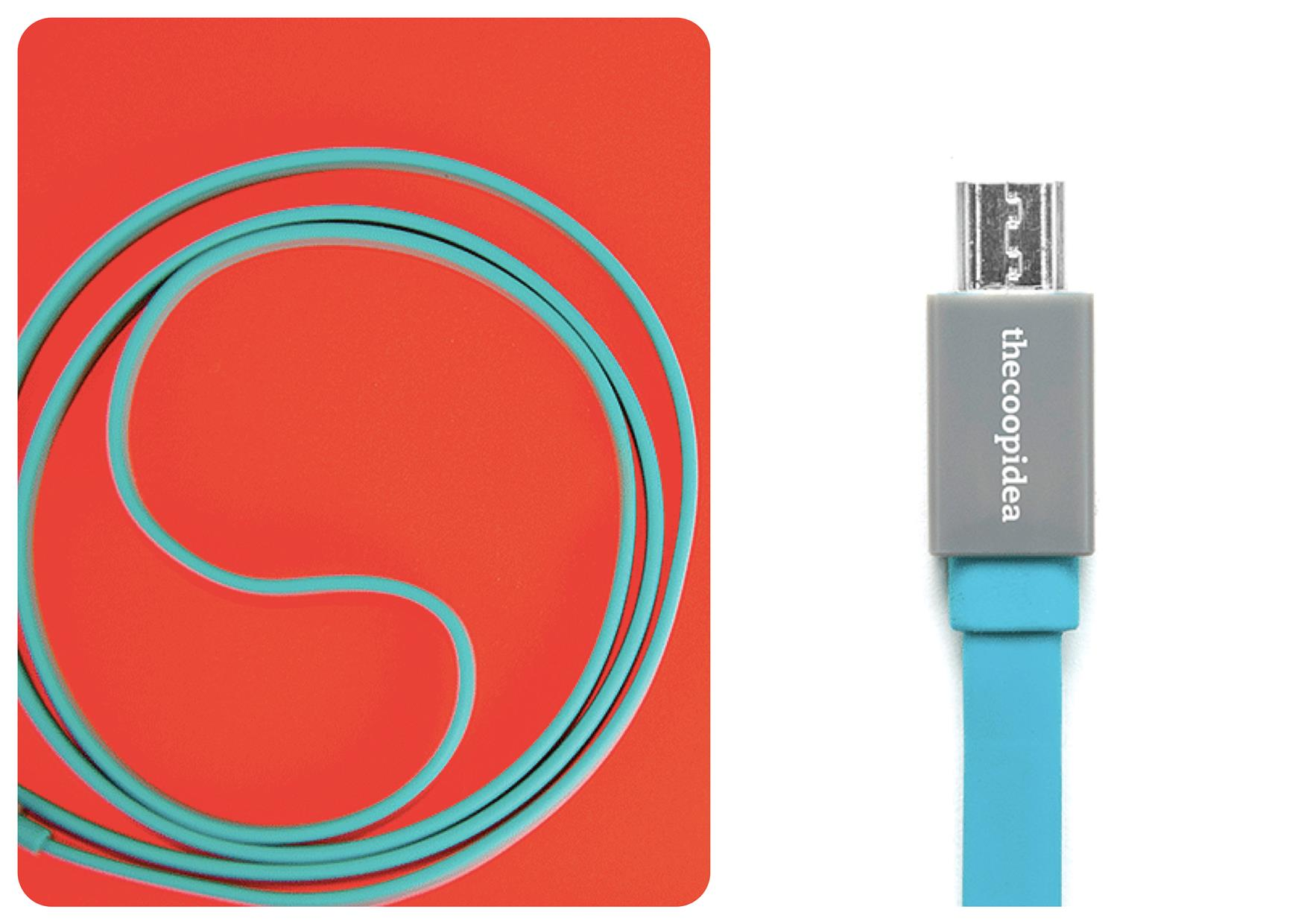 Bdotcom = TheCoopIdea Pasta Micro USB to USB Flat Cable 1m (Blue)