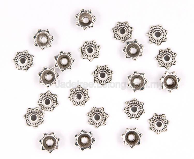 Beads,Bead Caps,Pewter Bead,Metal Bead,Round With Flower Shape