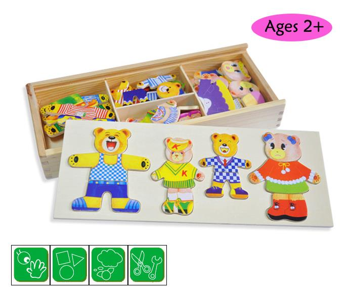 Bear and Cloth Dress-up Set Wooden Toy