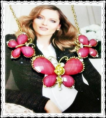 Beatrice Pink Butterfly Charm Necklace (Free Shipping)