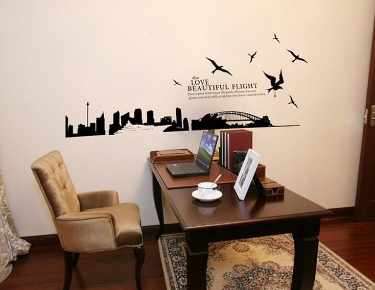 Beautiful night wall sticker bird bridge building black&white series