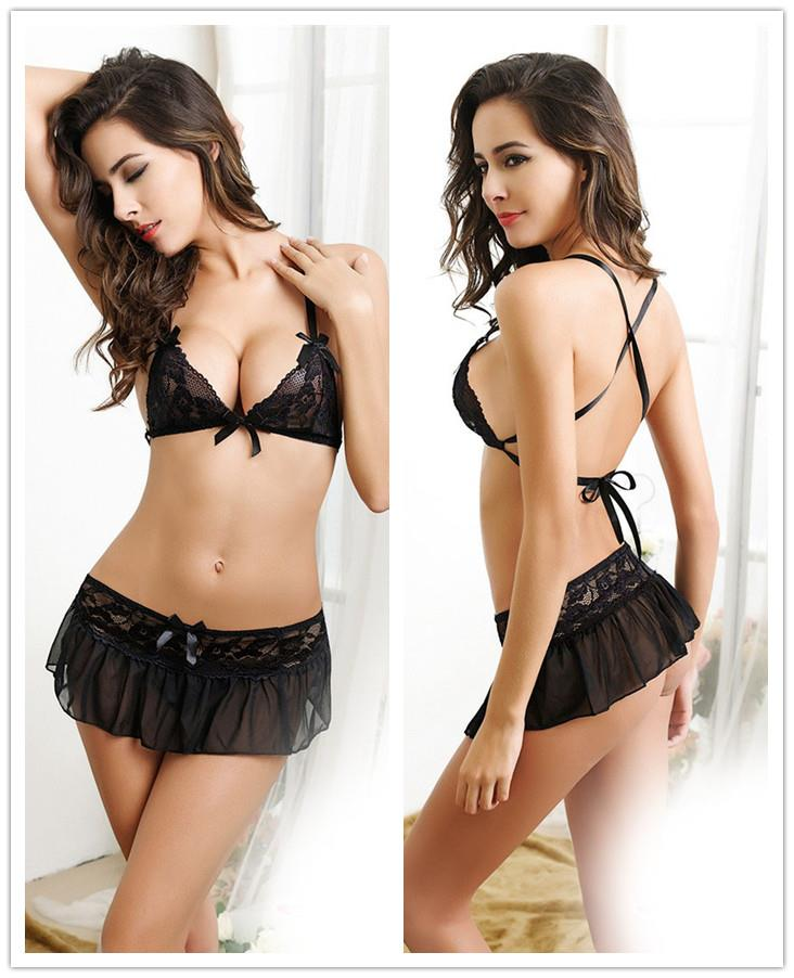 BeautyBack Lace Bra Set Skirt 3pcs (Black)