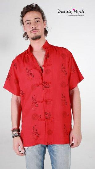 **BeautyMyth**Classic Dragon Print Linen Red Shirt Q00855 ~ S, M, L, X..