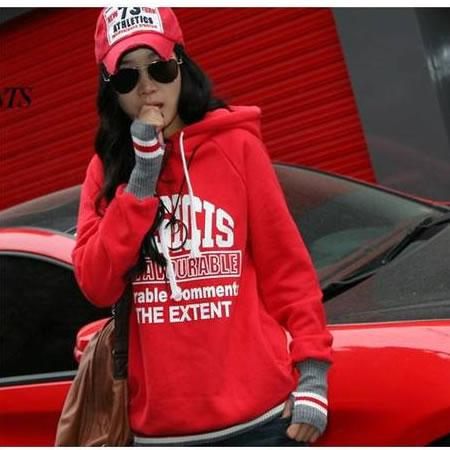 **BeautyMyth** Hit Star Warmy Cover Finger Hoody Blouse ~ Red/ White