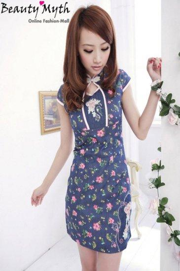 **BeautyMyth** Modern Embroidered & Pink Flower Denim Cheongsam Q00832..