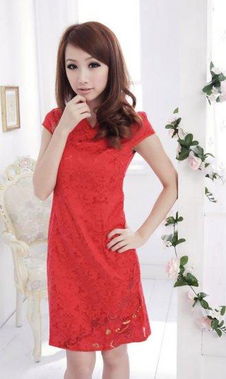 **BeautyMyth** V Neck Red Wedding Dinner Qipao Q00939 - S, M, L