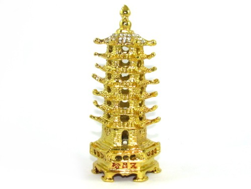 Bejeweled Golden Feng Shui 7-level Pagoda for Career and Exam Luck