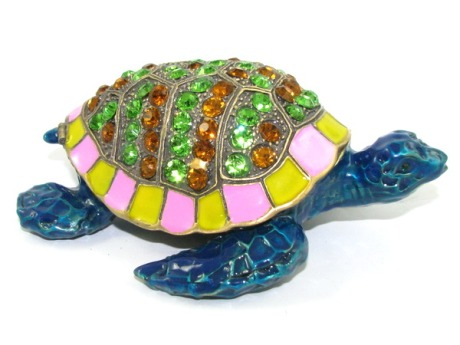 Bejeweled Wish-Fulfilling Blue Tortoise for Support and Longevity Luck