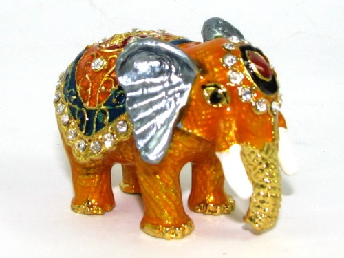 Bejeweled Wish-Fulfilling Elephant with Trunk Down for Fertility Luck