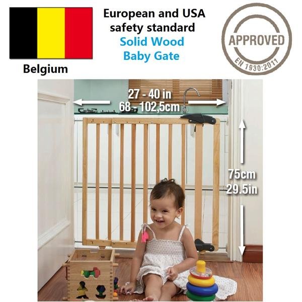 (Belgium Brand) European safety standard Premium solid wood baby gate