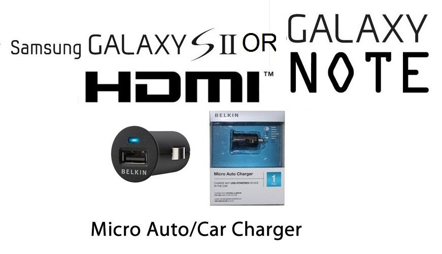 Belkin Micro Auto Charger in car USB adapter fr Samsung Galaxy Note S2