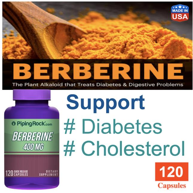 Berberine HCL 400mg, 120 Caps (Digestive, Cholesterol, Diabetes)