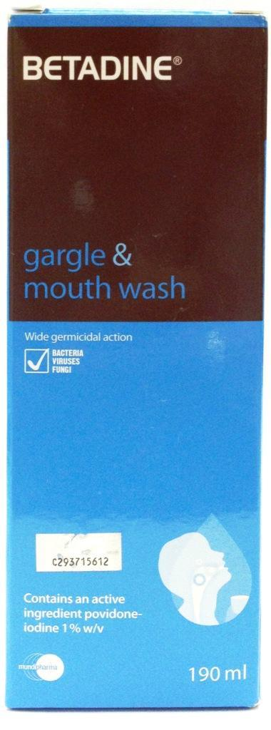 Betadine Gargle & Mouth Wash 190ml (For Mouth Ulcer & Sore Throat)