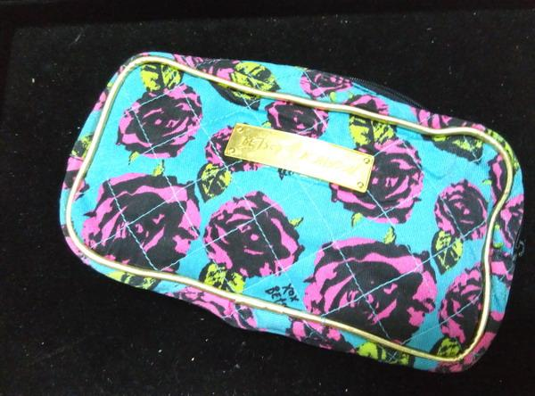 Betsey Johnson Black Green Quilted Cotton Cosmetic Case Bag