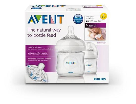 [Bibi] SALE - Philips Avent Natural Bottle 4oz/125ml Twin Pack