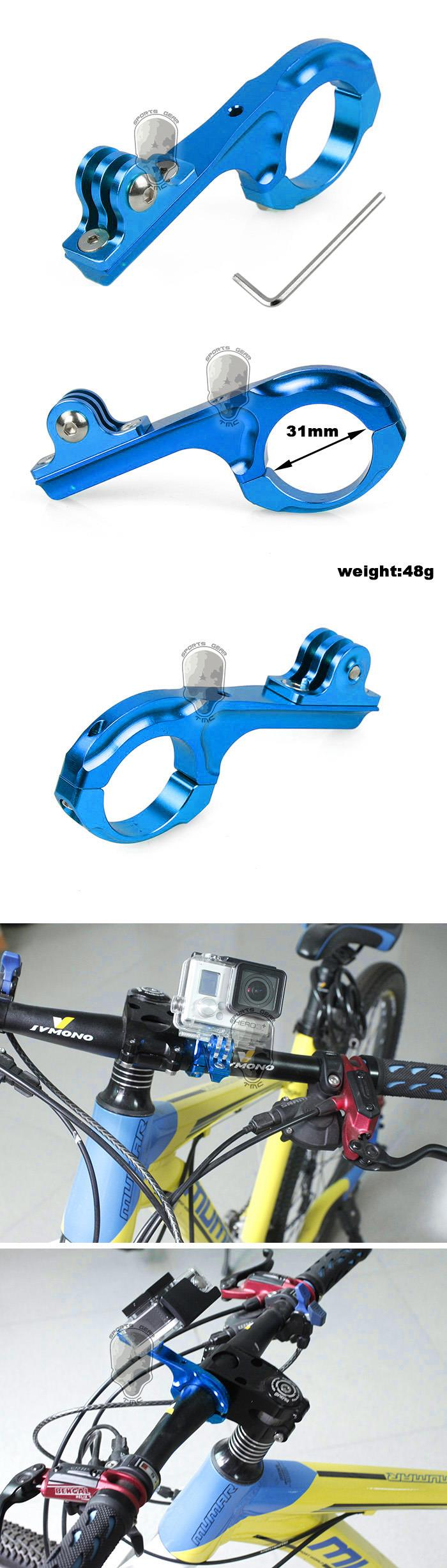 Bicycle Aluminum Motorcycle Handlebar Mount Adapter For Gopro(Blue)
