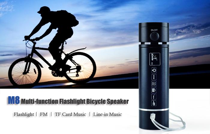 Bicycle USB Charging Torch Light Speaker Music Player MP3 4GB Micro SD