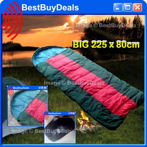 BIG 225 x 80cm Sleeping Bag Outdoor Sports Camping Hiking Warm Adult E