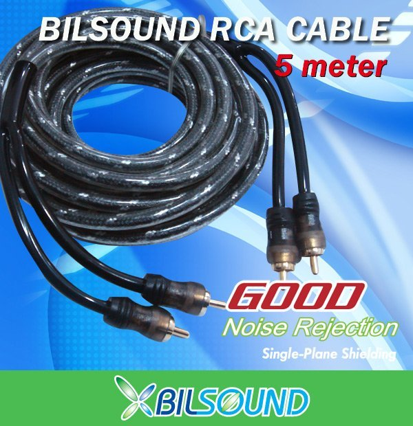 BIL-SOUND 5 Meter High Quality RCA Cable for Boot Amp Made In Germany