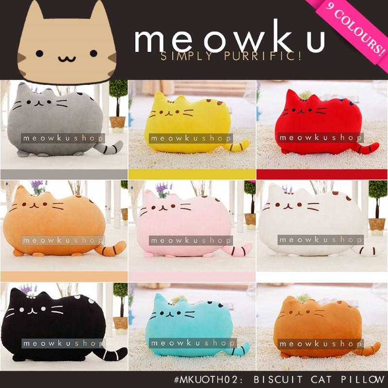 Biscuit Cat Pillow (Cute Funny Pusheen Free Cotton Filling Gifts Girl)