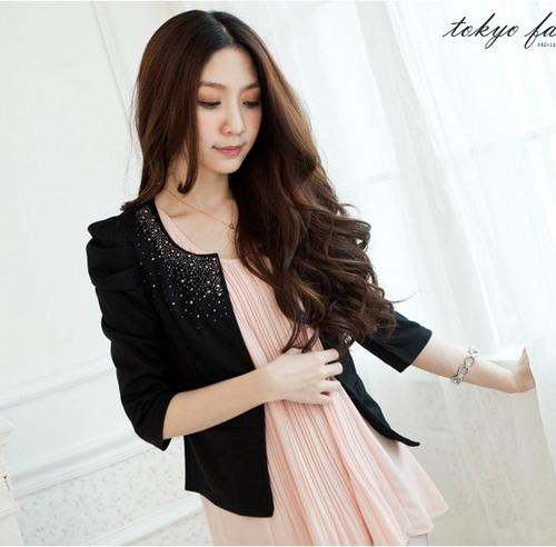BJ0262 OL Puffy Sleeves Black Jacket Cardigan Outer