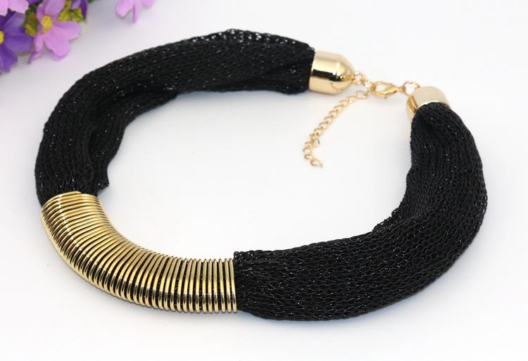 Black Golden Soft Mesh Europe Fashion Necklace S-Length Accessories