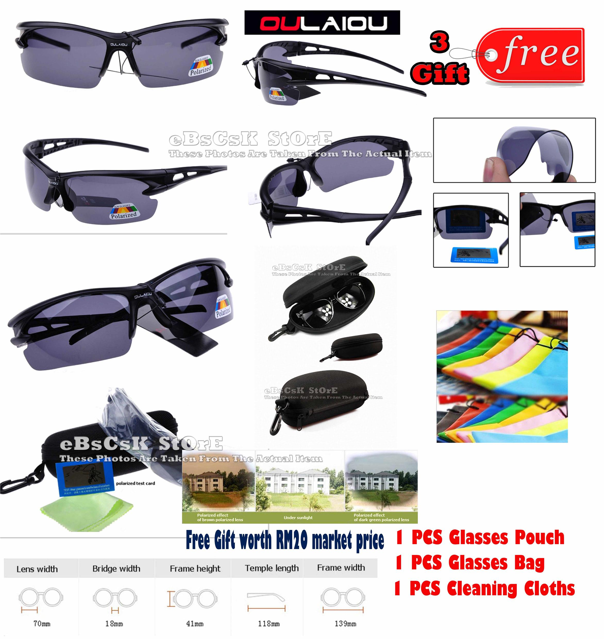 Black HD Driving Fishing Sports Outdoor Polarized Sunglasses + 3 Gift