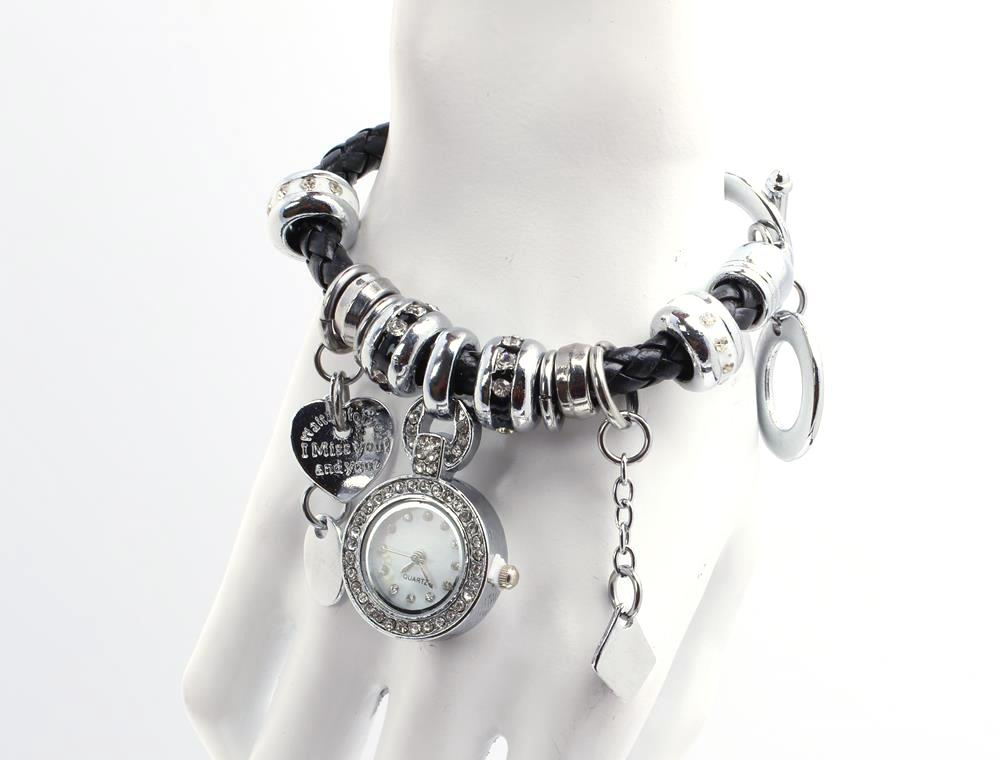 Black Korean Fashion Watch with Rhinestones, Leather Bracelet