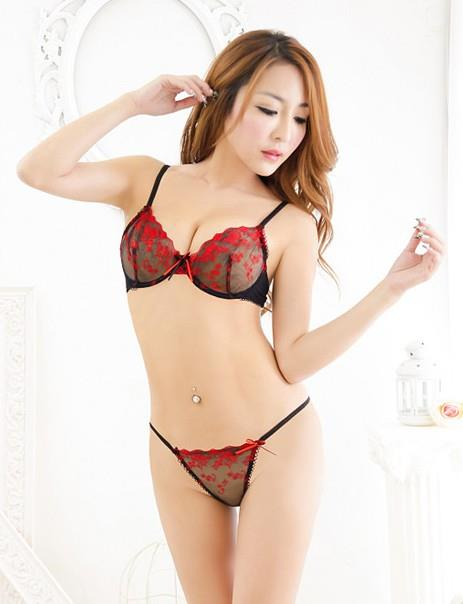 Black Red Embroid Bra Set 2pcs