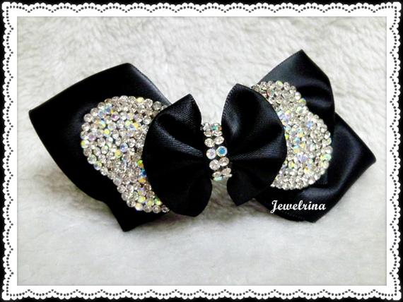 Black Romantic Handcrafted Bejewelled Korean Hair Clip (Free Shipping)