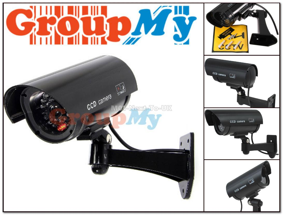 Black Security Dummy IR Simulation Surveillance Camera CCTV Flashing
