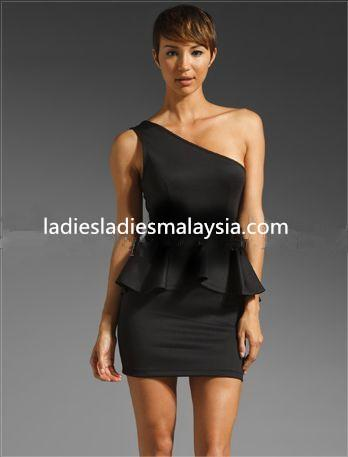 Black sexy one sided one shoulder tight straight A cut dinner dress