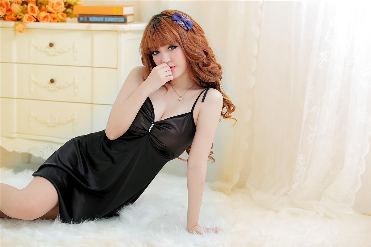 Black Silk Lingerie Nightdress Sleepwear with G-string MB313