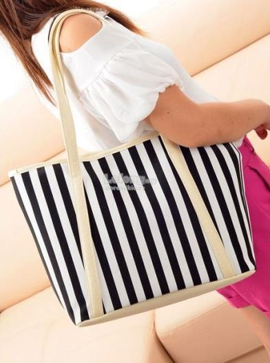 Black Strip Tote Bag