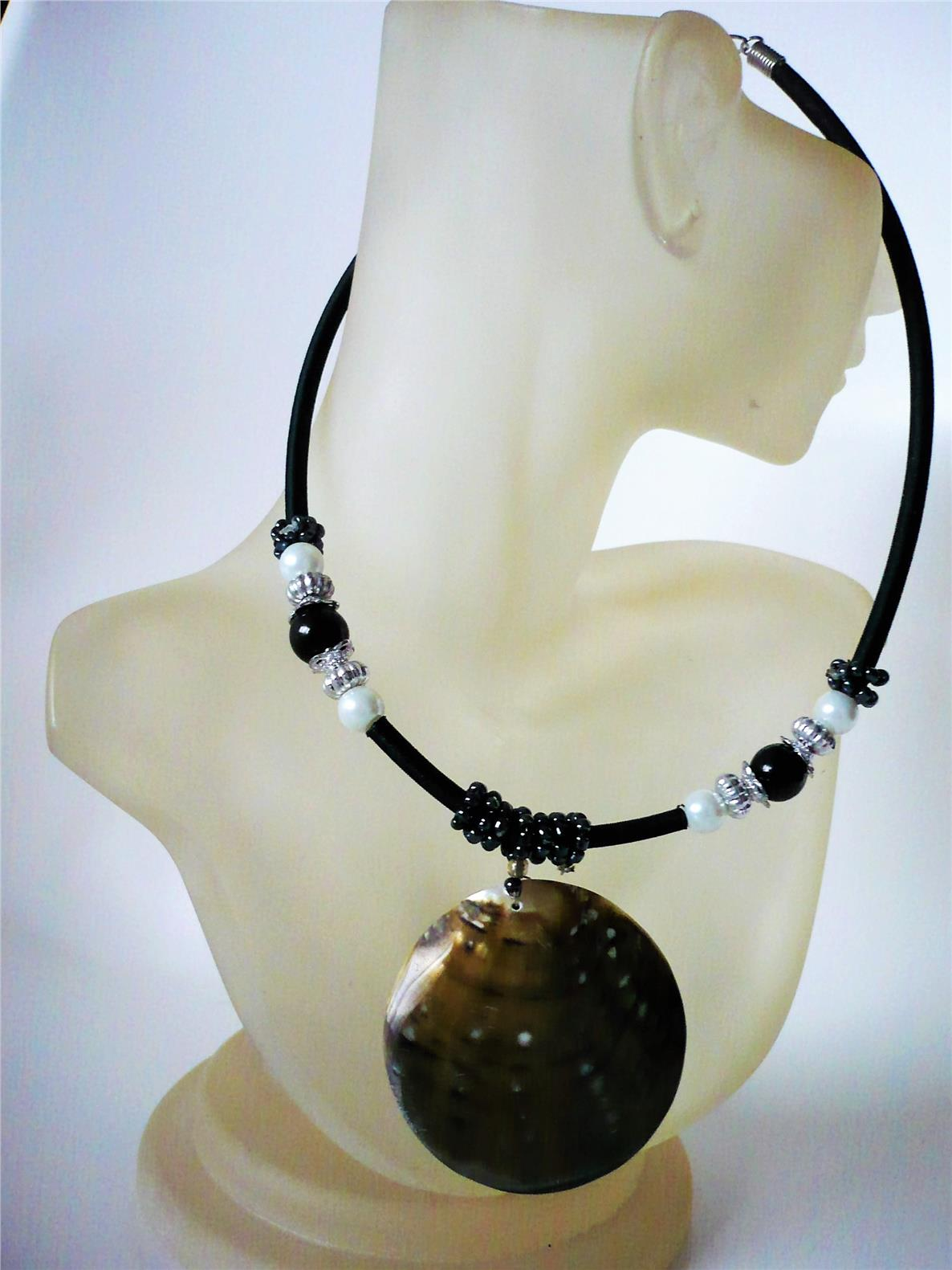 Black waxed cord choker with beads and a seashell pendant