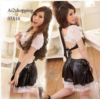 Black and white leather with fun fantasy game set uniform 03816
