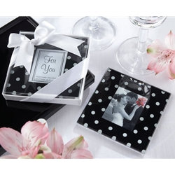 Black _ White Polka Dot Glass Photo Coaster