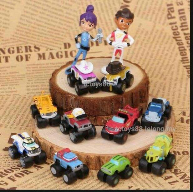 Blaze Monster Machines. Flame monster truck. Cake Topper. 12 pcs set.