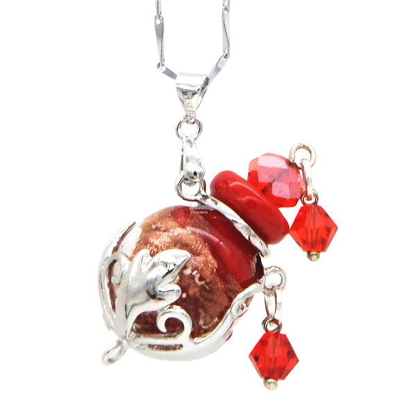 Blu Scents Food For Soul with Ruby Red Oval Aroma Necklace