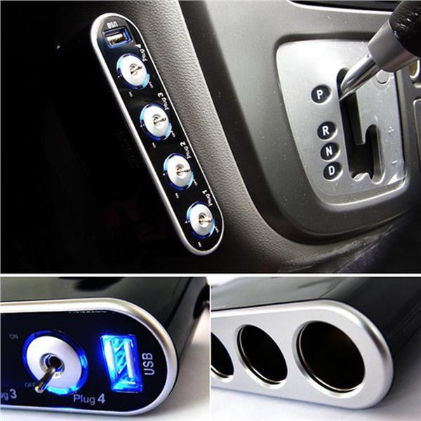 Blue LED In Car 4 Socket Switch USB Port Lighter Cigarette Power Quad